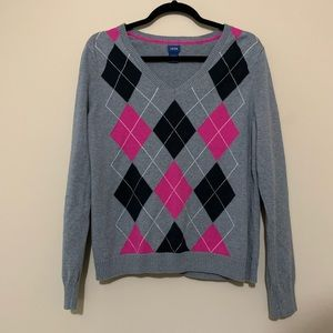 Izod Gray Argyle V Neck Sweater Size XL